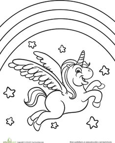 U for unicorn coloring page with handwriting practice ...