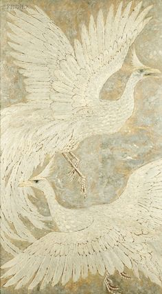 """p-lanet-e-arth: """" Decorative Panel featuring Two Mythological Birds Unsigned. Shades Of Beige, Decorative Panels, Beautiful Birds, Beautiful Life, Bird Art, Animal Paintings, Bird Feathers, American Artists, Color Inspiration"""