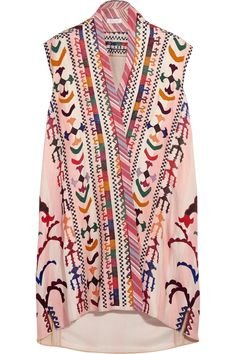 35b24f16fd6 Embroidered striped linen and silk-blend tunic
