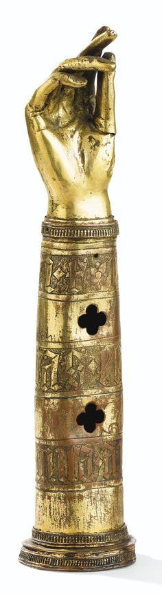Bras-reliquaire en cuivre doré, probablement France ou Italie vers 1400 | Lot | Sotheby's