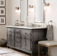 Adelina 46 Inch Cottage Bathroom Sink Vanity White Marble Counter Top Plantation Inspired Look Of This Style Distressed Vanities
