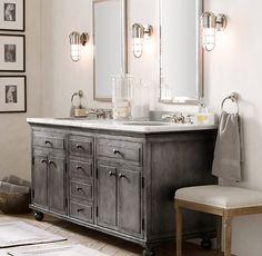 Distressed Bathroom Vanities gray vanity white sink |  bathroom vanities >> vanitiessize