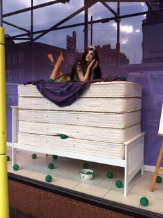 """""""window display advertising new bed department in local department store reminded me of something......"""", pinned by Ton van der Veer"""