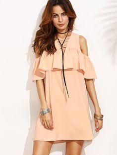 Pink+Cold+Shoulder+Ruffle+Criss+Cross+V+Neck+Dress+26.00