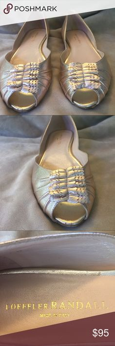"""Loeffler Randall Rosegold metallic peeptoe flat 8 Loeffler Randall Rosegold metallic pink peeptoe flat! Absolutely gorgeous!! Gently used with some wear showing to leather sole. Size 8 with 1/2"""" heel. So comfortable and stylish! Made in Italy! Great for day to night outfits! Comfortable yet chic and feminine! Loeffler Randall Shoes Flats & Loafers"""