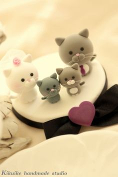 Lovely cat and kitty Wedding Cake Topper for the couple by kikuike, $100.00