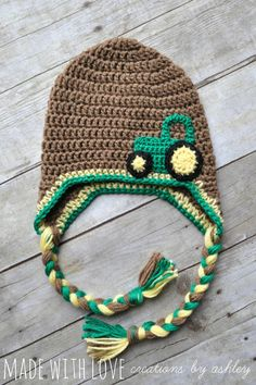 Crochet John Deere Tractor Hat in brown green by MadeWithLoveCba, $20.00