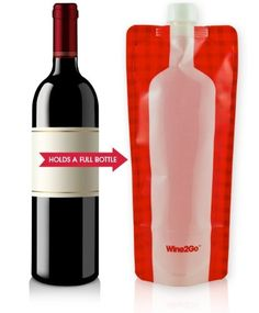 The cool new Wine2Go is a reusable, flexible, and highly portable flask that holds an entire bottle of your favorite wine and folds up to save valuable space when empty. This convenient vino container is made from BPA-free plastic, holds 750 ml, has a leakproof cap, and is perfect for camping, tailgating, sporting events, concerts, parties, hiking, boating, or anywhere you can get it into. Best of all, no empty glass bottles to worry about. @thegreenhead