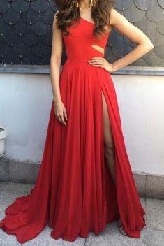 A line One Shoulder Red Sexy Slit Evening Dress
