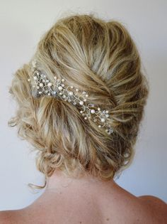 Item # HV-010: This listing is for one swarovski Clear AB crystal and pearl bridal hair vine.This hair vine is very versatile, it can be