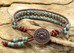 Turquoise And Copper Beaded Leather Wrap Bracelet, Turquoise Picasso Boho Leather Cuff, Leather Bracelet For Women (SW137) by CinfulBeadCreations on Etsy