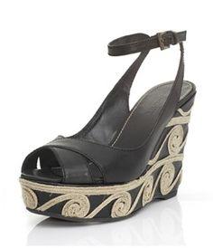 Sandalo cinturino alla caviglia su zeppa cm.11 ricoperta pelle con ricamo in corda. Suola in gomma.  Spring-Summer 2013 #MadeinItaly #outfit #outfitetnico #outfitethnic #shoes #shoesethnic #outfitsummer #sandal #wedge #heel