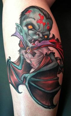 Vampire Tattoo by Scotty Munster. #inked #inkedmag #tattoo #vampire #colorful #ink #idea