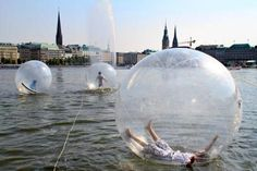 "must do in my lifetime! (this is way cooler than sky diving in my book)------->""Walk Water Balls"" on Lake Alster in Hamburg, Germany."