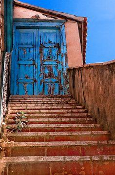 Sky-blue door ~ Hydra, Greece.  By StefanosP, via Flickr