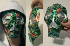 Skyrim mask made out of Mountain Dew Cans