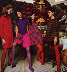 Fashion ad from the 60's - loved the short skirts and colored tights...wore that look all of the time back then