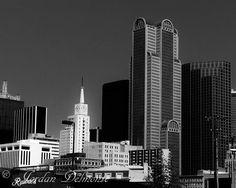 Dallas Skyline Photography, Black & White Dallas, Cityscape Photography by JordanDelmonteArt on Etsy