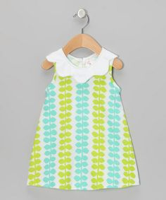 Take a look at this White & Green Vine Dress - Infant by CyBaby on #zulily today!