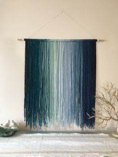 Wall Hanging , Yarn Wall Hanging, Tapestry, Ombre Teal Blue, Bohemian Wall Hanging, Tapestry, Macrame, Wall Hanging