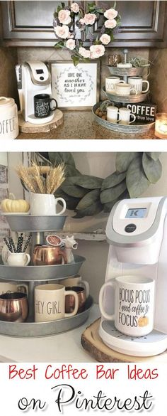 Outstanding DIY Coffee Bar Ideas for Your Cozy Home / Coffee Shop Cute Coffee Station Ideas – Searching for coffee bar ideas? By picking a distinct location to position all your coffee making basics, you will have the capability to appreciate your re Coffee Station Kitchen, Coffee Bars In Kitchen, Coffee Bar Home, Home Coffee Stations, Drink Coffee, Coffee Themed Kitchen, Coffee Kitchen Decor, Coffee Bar Ideas, Office Coffee Station