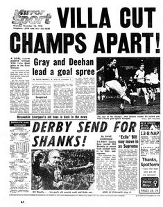 Daily Mirror article with the headline 'Villa Cut Champs Apart!' about the Aston Villa 5 - 1 Liverpool, League Division One match held at Villa Park in Nigel Kennedy, Dwight Yorke, Super Club, Aston Villa Fc, Bicycle Kick, Derby County, Villa Park, Play The Video, Best Club