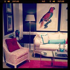 Love the parrot picture. Interior Design Inspiration, Design Ideas, Houston Apartment, Beachy Colors, Lillian August, Furniture Market, Workspaces, Home Hacks, Humble Abode