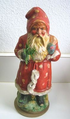 Antique German Belsnickle Santa Spotted Coat Candy Container