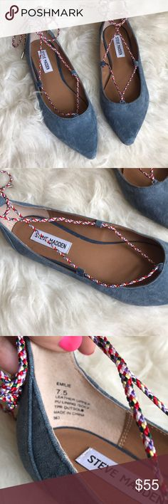 8e33f2fcfb4d Shop Women s Steve Madden size Flats   Loafers at a discounted price at  Poshmark. Cute little suede flats with lace up ankles.