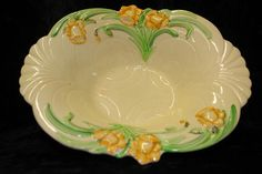 Antique Art Deco Shorter & Sons Pottery Daffodil Bowl in High Relief Most Favorite, Vintage China, Daffodils, Tea Pots, Sons, Art Deco, Porcelain, Pottery, Ceramics