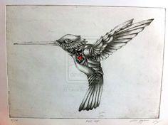 Clockwork Hummingbird by on DeviantArt What Is Steampunk, Steampunk Bird, Steampunk Design, Calf Tattoo, Chest Tattoo, Steampunk Drawing, Hummingbird Tattoo, Animal Tattoos, Picture Tattoos