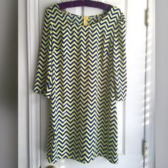 Auditions Fashion Chevron Dress NWOT, Auditions Fashion brand dress in perfect condition. I absolutely fell in love with this dress but it's too big! I've never worn it. Blue and yellow chevron pattern. No trades, no PP. I love to bundle! Auditions  Dresses