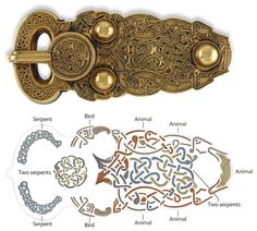 Gold belt buckle from the Sutton Hoo ship burial - Anglo-Saxon, early century AD. From Mound Sutton Hoo, Suffolk, England Medieval Jewelry, Viking Jewelry, Ancient Jewelry, Medieval Art, Viking Designs, Celtic Designs, Art Viking, Viking Ship, Viking Runes