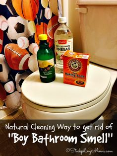 Natural Cleaning Way to get rid of Boy Bathroom Smell with only 3 ingredients! Great DIY idea if you have a house full of boys.  Be sure to add to your bathroom ideas.