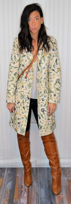 Vintage Floral Wool Embroidered Coat Long Sleeve by ModishDamsel