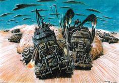 BROTHERTEDD.COM - Peter Pound concept art for MAD MAX: FURY ROAD.... Jurassic Park 1993, Concept Draw, Mad Max Fury Road, Post Apocalypse, Australian Artists, Pixel Art, Fan Art, Drawings, Illustration