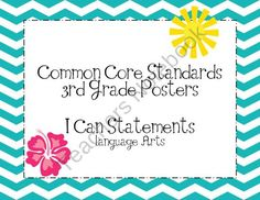 Third Grade Common Core Language Art Posters-Chevron Pattern from Surfin Through Second on TeachersNotebook.com (97 pages)