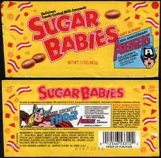 Warner-Lambert - Sugar Babies - Avengers Anniversary - The Mighty Thor - candy wrapper package front - 1993 Old Candy, Baby Avengers, The Mighty Thor, Thing 1, Vintage Candy, Candy Wrappers, Sugar Baby, 30th Anniversary, Free Baby Stuff