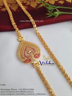 1 Gram Gold Jewellery, Gold Temple Jewellery, Gold Jewellery Design, Diamond Jewellery, Jewelry Model, Chain Jewelry, Beaded Jewelry, Gold Mangalsutra Designs, Gold Chain Design