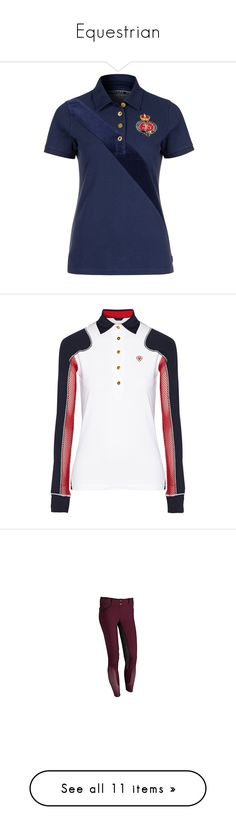 """""""Equestrian"""" by arianacuty ❤ liked on Polyvore featuring tops, blue, women's tops, polo shirts, joules tops, blue polo shirts, blue top, shirts, applique shirts and sash belt"""