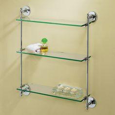 $198 Chrome - Gatco 3 Tier Wall-Mounted Glass Shelf; 5in deep