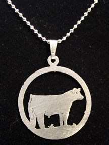 show steer pendant Cute Jewelry, Jewelry Accessories, Jewlery, Show Steers, Show Cows, Pig Showing, Little Busters, Ear Tag, Show Cattle