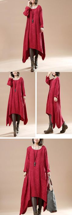 Women Autumn Round Neck Long Sleeve Cotton Linen Red wine Dresse