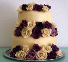 Wedding cake with marzipan roses