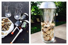Modern solar light lamp for deck or backyard.  Glass and river rock are from the dollar store, solar lights we can get anywhere.  I got mine at Lowe's for $3.89.  Nice affordable update.  Cheap DIY project