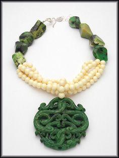 HONG KONG  Handcarved Green Jade Pendant  by sandrawebsterjewelry, $210.00