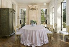 Such a pretty dining room, love the armoire
