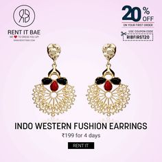 RENT IT BAE presents a unique collection of earrings to make your Eid more special and beautiful. They sparkle like your eyes in the summer sun!!   Order now @ https://www.rentitbae.com/home/pdp/indo-western-fushion-earrings-rib-red-and-black-rib_295 #RIB #Rent #RENTITBAE #Eid