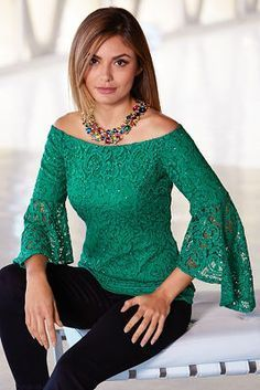 You are beautiful in winter green lace detailed with sparkling sequins and sheer three-quarter asymmetric bell sleeves in a sexy off-the-shoulder silhouette. Fully lined with outfits winter indie Off-the-shoulder Sequin Lace Top Look Fashion, Runway Fashion, Trendy Fashion, Fashion Trends, Bohemian Fashion, Paris Fashion, Fashion 2018, Spring Fashion, Lace Tops