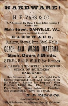 An Ad from 1880 this is available for purchase framed and matted Danville Virginia